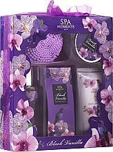 Perfumería y cosmética Spa Moments Black Vanilla - Set corporal con aroma a vainilla (gel de ducha/100ml + loción/60ml + manteca corporal/50ml + sales de baño/50g + esponja de baño)