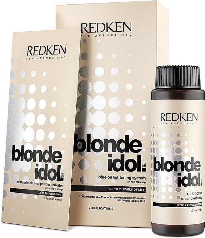 Redken Blonde Idol Blue Oil Lightening Systems - Set decolorante de cabello (Activador de polvo/4x12,5g + aceite potenciador/125g)