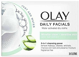 Perfumería y cosmética Toallitas micelares limpiadoras para rostro con extracto de aloe vera - Olay Cleanse Daily Facials Cloths Sensitive