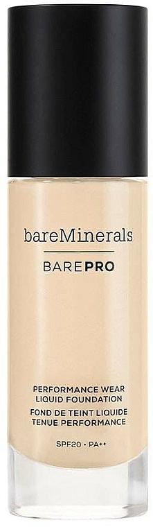 Base de maquilalje mineral líquida cremosa de alta cobertura y larga duración con efecto mate - Bare Escentuals Bare Minerals Barepro 24-Hour Full Coverage Liquid Foundation Spf20