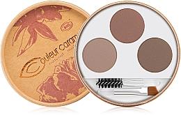 Perfumería y cosmética Set para cejas bio natural (pincel, cepillo, paleta tricolor) - Couleur Caramel