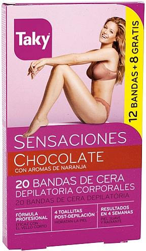 Bandas de cera depilatoria corporales con aromas de naranja - Taky Chocolate Body Wax Strips With Orange Fragrance Box