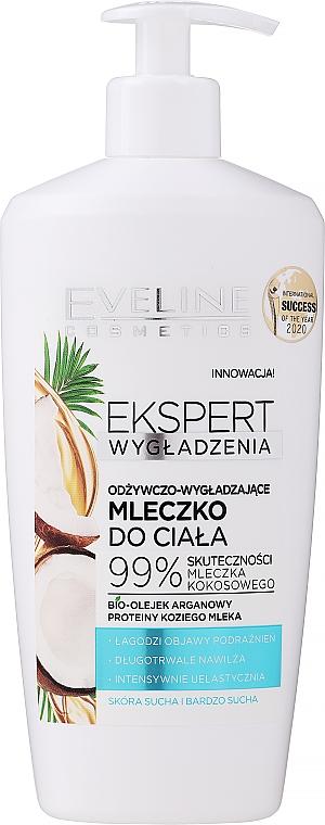 Leche corporal nutritiva con aceites de coco y argán, pieles secas y muy secas - Eveline Cosmetics