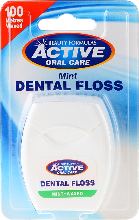 Hilo dental con sabor a menta - Beauty Formulas Active Oral Care Dental Floss Mint Waxed 100m