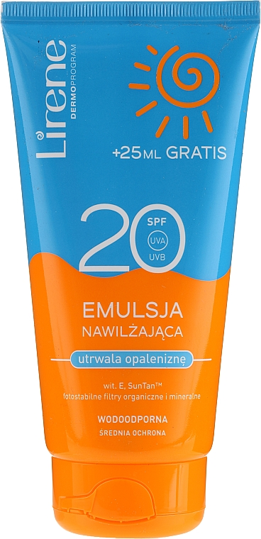 Emulsión protectora solar hidratante y resistente al agua SPF20 - Lirene Sun Care Emulsion SPF20