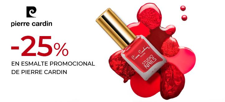 Descuento del 25% en el esmalte promocional de Pierre Cardin. Los precios de la página tienen el descuento aplicado