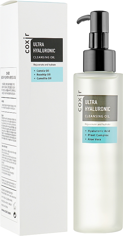 Aceite de limpieza facial rejuvenecedor con ácido hialurónico, acceites de canola, rosa mosqueta y camelia - Coxir Ultra Hyaluronic Cleansing Oil