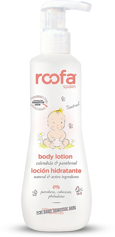 Loción corporal para bebés con caléndula & pantenol para piel sensible - Roofa Calendula & Panthenol Body Lotion