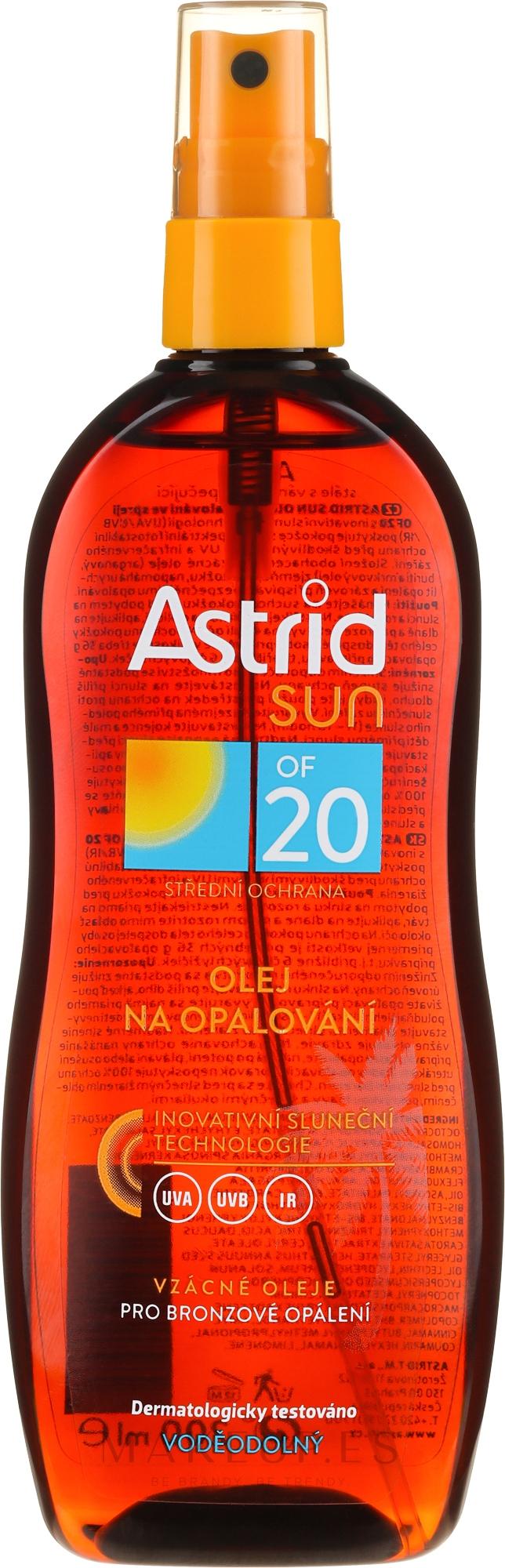 Aceite seco para bronceado SPF20 - Astrid Sun Suncare Spray Oil SPF20 — imagen 200 ml