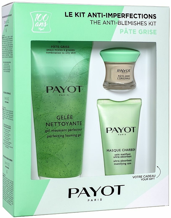 Payot Pate Grise The Anti-Blemishes Kit - Set facial antiimperfecciones (gel limpiador200ml + mascarilla/50ml + pasta/15ml)