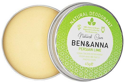 Desodorante crema natural con lima persa - Ben & Anna Persian Lime Soda Cream Deodorant