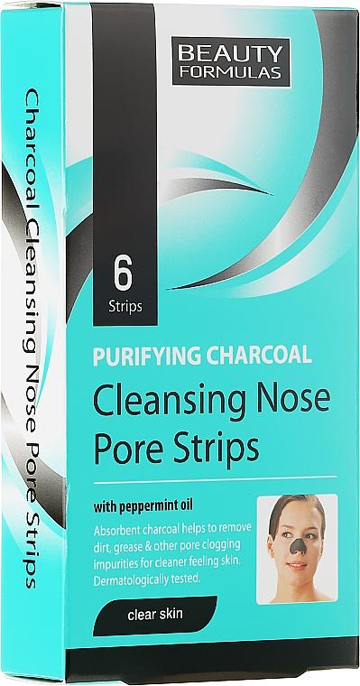 Tiras limpiadoras de poros con carbón activo y aceite de menta, 6uds. - Beauty Formulas Purifying Charcoal Deep Cleansing Nose Pore