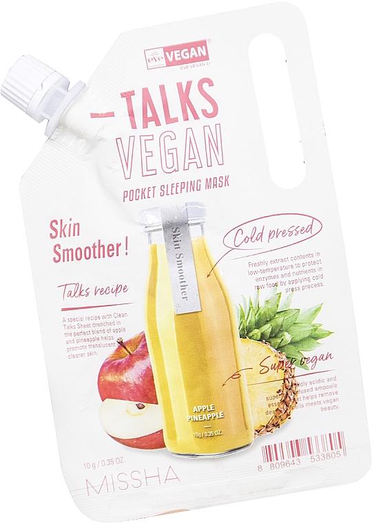 Mascarilla exfoliante facial de noche con extracto de manzana y piña - Missha Talks Vegan Squeeze Pocket Sleeping Mask Skin Smoother (doypack)