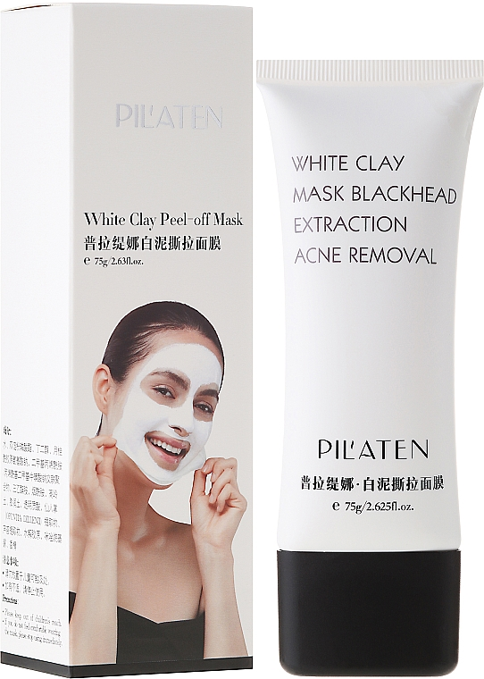 Mascarilla facial peel-off con arcilla blanca y extracto de aloe vera - Pil'Aten White Clay Mask Blackhead Extraction Acne Removal