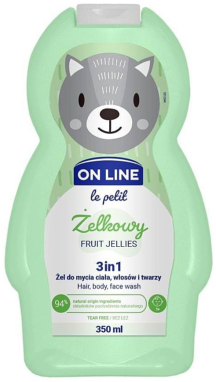 Gel de ducha infantil para cuerpo, cabello y rostro con aroma frutal - On Line Le Petit Fruit Jellies 3 In 1 Hair Body Face Wash