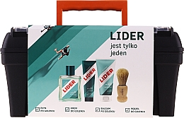 Perfumería y cosmética Lider Classic Tool Box Set - Set de afeitado (loción aftershave/100ml+ crema/65g+ bálsamo/100ml+ brocha+ maletín)