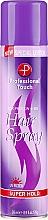 Perfumería y cosmética Laca con proteínas de seda, pantenol, linalol y UV filtro, fijación extra fuerte - Professional Touch Silk Protein + B5 Super Hold Hair Spray