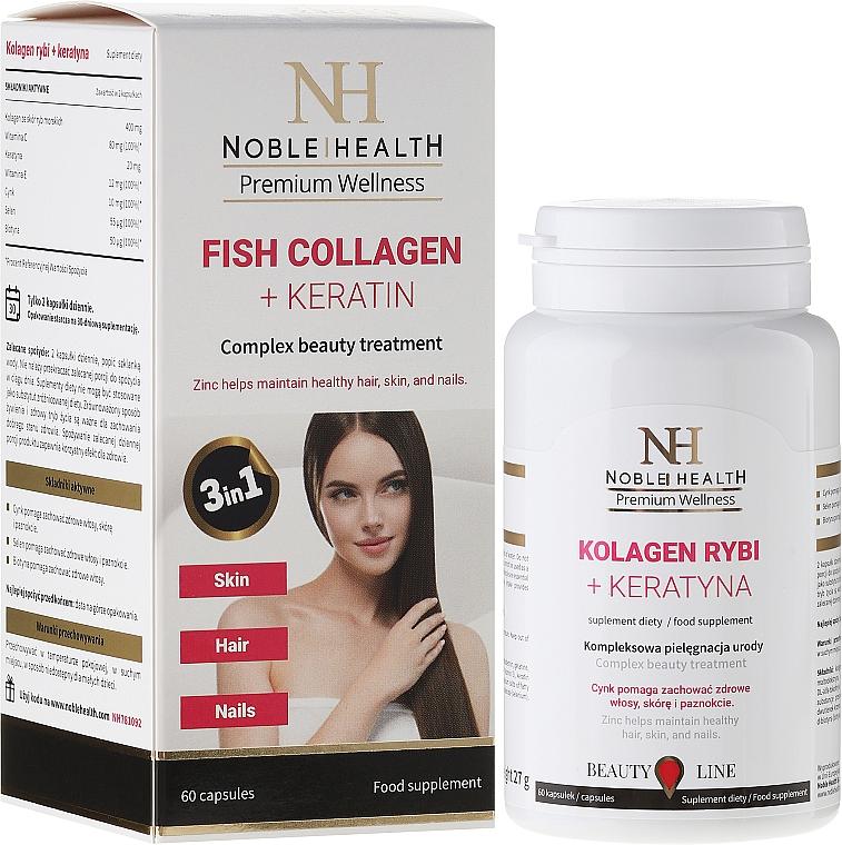 Complemento alimenticio en cápsulas de colágeno marino y queratina, 60 cáp. - Noble Health Kolagen + Ceratin