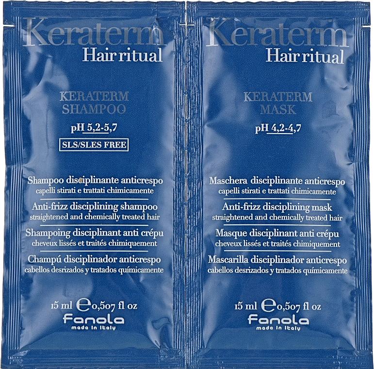 Set para cabello indisciplinado - Fanola Keraterm (champú/15ml + mascarilla/15ml)