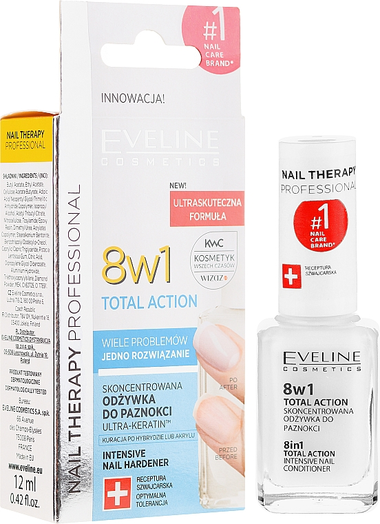 Bálsamo activador de crecimiento de uñas, 8en1 - Eveline Cosmetics Nail Therapy Total Action 8 in 1
