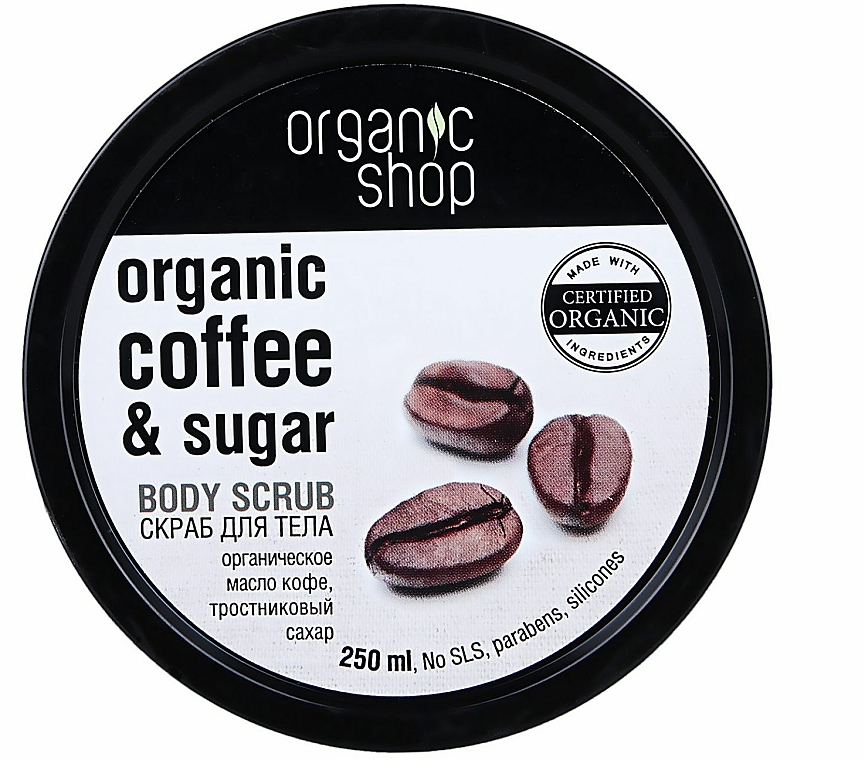 Exfoliante corporal orgánico con aceite de café orgánico y azúcar natural - Organic Shop Body Scrub Organic Coffee & Sugar
