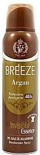 Perfumería y cosmética Breeze Deo Spray Argan - Desodorante spray antimanchas con aceite de argán sin sales de aluminio