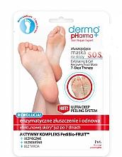 Perfumería y cosmética Mascarilla exfoliante para pies con extractos de limón, manzana y papaya - Dermo Pharma Skin Repair Expert S.O.S. Exfoliating & Cell Recovery Foot Mask
