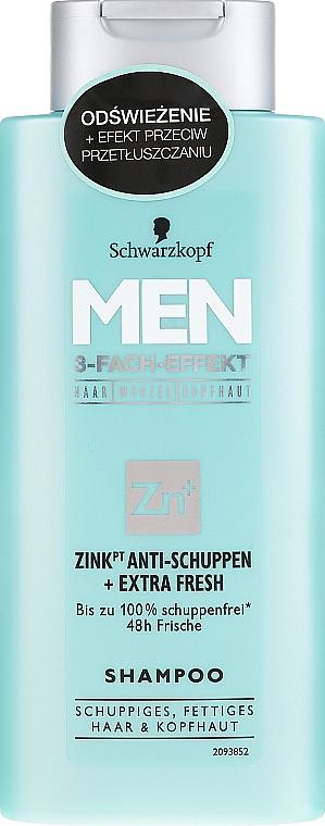 Champú anticaspa con zinc, alantoína & pantenol - Schwarzkopf Men Deep Effect 3 Zinc Anti-Dandruff+Oil Control Shampoo