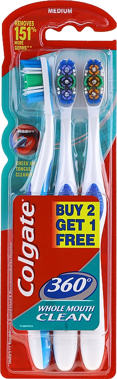 Cepillos dentales de dureza media, azul + violeta + naranja - Colgate 360