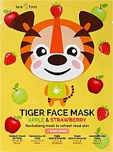 Perfumería y cosmética Mascarilla facial de tejido con extracto de manzana y fresa - 7th Heaven Face Food Tiger Face Mask Apple & Strawberry