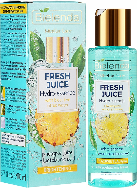 Hidroesencia facial de piña y ácido lactobiónico - Bielenda Fresh Juice Brightening Hydro Essence Pineapple