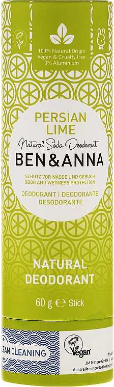 Desodorante stick a base de bicarbonato de sodio con aroma cítrico - Ben & Anna Natural Soda Deodorant Paper Tube Persian Lime — imagen N1