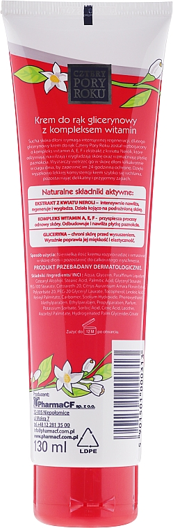 Crema de manos reparadora con glicerina - Pharma CF Cztery Pory Roku Hand Cream — imagen N2