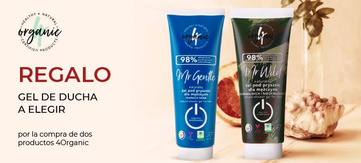Por la compra de dos productos 4Organic, recibe un gel de ducha a elegir de regalo