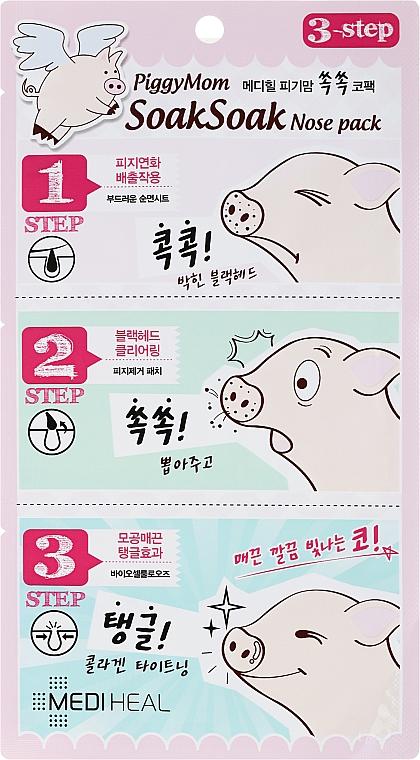 Limpieza de poros en 3 pasos con extracto de té verde, lima, limón y aloe vera - Mediheal PiggyMom SoakSoak Nose-Pack