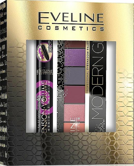 Set (máscara/10ml+ paleta sombras de ojos/9.6g) - Eveline Cosmetics