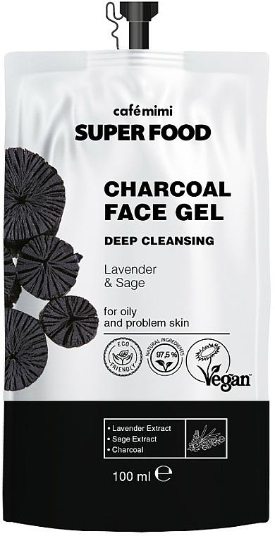 Gel de limpieza facial con carbón, extracto de lavanda y salvia - Cafe Mimi Super Food (doypack)