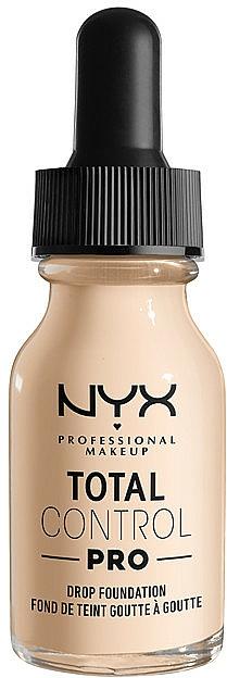 Base de maquillaje líquida de cobertura media a completa, vegana - NYX Professional Total Control Pro Drop Foundation
