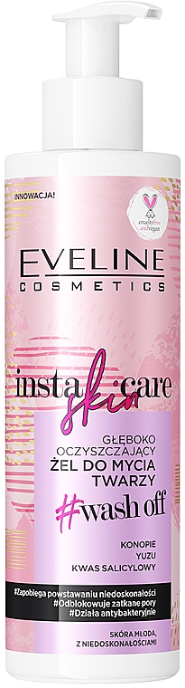 Gel limpiador con propiedades hidratantes y rejuvenecedoras - Eveline Cosmetics Insta Skin Care #Wash Off