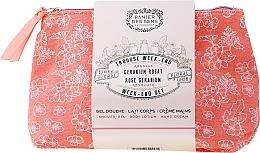 Perfumería y cosmética Panier des Sens Rose Geranium Week-End Set - Set corporal con aroma a geranio rosa (gel de ducha/70ml + loción corporal/70ml + crema de manos/30ml + neceser)