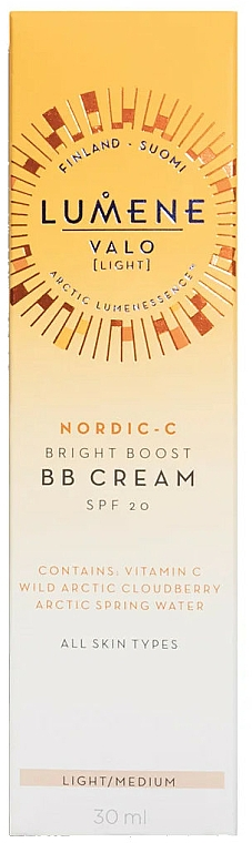 BB crema iluminadora facial vegana con vitamina C, SPF 20 - Lumene Valo Bright Boost BB Cream SPF20 — imagen N2